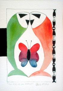 Due pesci e una farfalla - 28x39